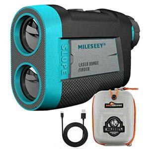 Mileseey Telemetre Golf avec Ventouse MagnéTique, Telemetre Golf 600m avec Marqueurs De Verrouillage Et Vibration, Inclinaison on/Off, LéGal pour Le Jeu en Tournoi, Grossissement 6X, Chargement USB