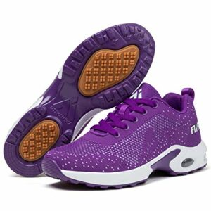 Mishansha Chaussures de Sport Femme Golf Chaussure Filles Antidérapant Running Baskets Dame Respirantes Course Sneakers Léger Violet/Classique 41
