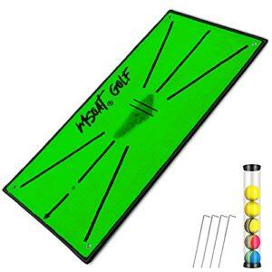 MSOAT New Upgrade Tapis D'entraînement de Golf Swing Detection Batting 60cmX30cm Tapis de Pratique Portable pour Intérieur Extérieur Matière Velours