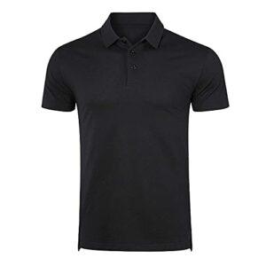 Naudamp Hommes Polos d'extérieur à Manches Courtes de Golf Respirant à Séchage Rapide T-Shirt d'été Léger et Décontracté