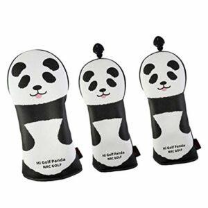 Pack 3 Golf Headcover, Golf Club Cover Panda Animal Lovely Head Cover Accessoires Cadeau pour les amis et les membres de la famille