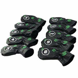 Paquet de 10 couvre-tête de club de golf Wedge Iron Protection Headcover Design de broderie – Cuir synthétique épais de performance – Imperméable et durable