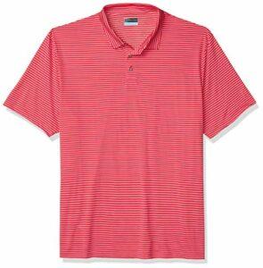 PGA Tour Short Sleeve Feeder Stripe Polo Shirt Golf, Rose Virtual, M Homme