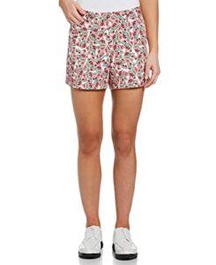 PGA TOUR Women's 4.5″ Inseam Mini Watermelon Short, Bright White, 14