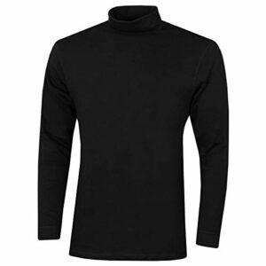 Proquip Hommes Solano Cotton Roll Neck Long Sleeve Top Soft Comfort Baselayer Black Medium