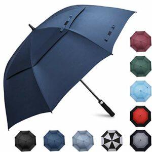 Prospo Grand Parapluie de Golf 62 Pouces Coupe-Vent Double Canopée Ouverture Automatique pour Homme Femme