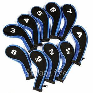 Protections Club de Golf 10pcs Caoutchouc néoprène Golf Head Cover Golf Club Fer Putter Protect Set numéro imprimé avec Fermeture éclair Long Neck Golf Mallet Putter Couverture (Color : Blue)