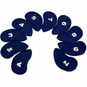 Protections Club de Golf 10pcs / Set Numéro de Golf Tête de Fer Couvre Fer Putter Golf Club de Protection Tête de Fer Protecteur Golf Accessoires Golf Mallet Putter Couverture (Color : Blue)