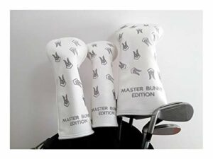 Protections Club de Golf Golf Cache-Pilote Fairway Woods Set Headcovers PU Cuir Têtes Protect 3 Couleurs Golf Mallet Putter Couverture (Color : White 135)
