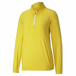 PUMA Golf 2020 Cloudspun 1/4 Zip 1/4 pour Femme, Femme, Fermeture éclair 1/4, 597712, Super Citron, L