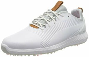 PUMA Ignite PWRADAPT Leather 2.0, Chaussures de Golf Homme, Blanc White White, 43 EU