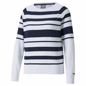 PUMA Pull Femme Ruban, Femme, Sweat, Ribbon Sweater, Blazer blanc vif/bleu marine, X-Small
