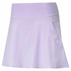 PUMA Pwrshape Jupe tissée solide pour femme 40,6 cm, Femme, Short de golf, Pwrshape Solid Woven Skirt 16″, Lavande claire., Large