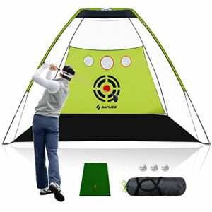 SAPLIZE Filet d'entraînement de Golf avec Tapis de Frappe, Filet de Frappe de Golf à Fort Impact de 10 x 7 Pieds, Filet d'entraînement de Golf Portable pour l'extérieur, l'intérieur et la Cour