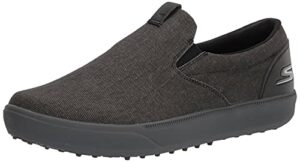 Skechers Men's Drive 4 Course Relaxed Fit Canvas Slip On Golf Shoe, Black/Gray, 12.5
