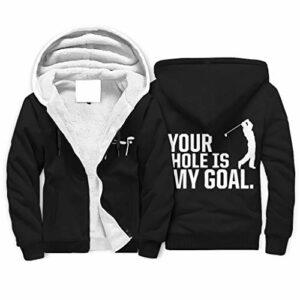 Sweat-shirt d'hiver en polaire pour homme – Fermeture éclair avant – Pour étudier votre Hole My Goal – Décontracté – Avec fermeture éclair – Idéal comme cadeau de nouvel an – Blanc – Taille 4XL
