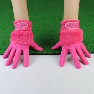 SZMYLED 1 paire de gants de golf d'hiver antidérapants en fourrure de lapin pour femme Convient pour la main gauche et la main droite Rose Taille 18