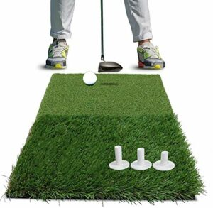 Tapis De Golf Practice Exterieur Interieur Putting D'entraînement avec 3 Pièces en Caoutchouc 2,75 3,0 3,13 Tailles Différentes Pratique Portable Jardin pour hommes (2-In-1 Turf+3 Pcs rubber tees)