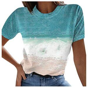 Tee Shirt Femme Manche Courte Sport Chemisier Femme Sexy Grande Taille T Shirt Femme Col Rond Imprime Dégradé Haut Femme Chic Et Elegant Ete Blouse Pullover Lache Mode All-Match Top