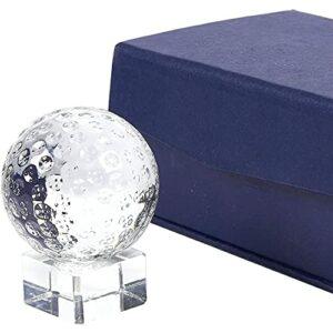 Trophée de golf Juvale – petit trophée en balle de golf à cristal optique avec un pied de base séparable pour récompense sportive, contient une boîte-cadeau, 5,1 x 6,6 x 5,1 cm
