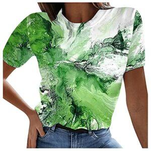 T-Shirts à Manches Courtes Femme Ample Tee Shirt Femme Sexy Ete Impression Tie-Dye Haut Décontracté Grande Taille Femme Decollete Chemisier Femme Chic Et élégant Blouse Sport Lache Tops Tunique