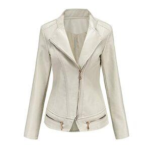 Veste Courte pour Femme en Simili Cuir Style décontracté Vintage Blouson Vélo Moto Veste Jacket Femme