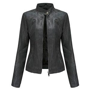 Veste Femme de Motard Vintage Blouson en Cuir PU Veste Moto Jacket Slim Printemps Automne