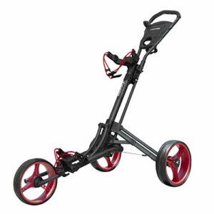 vilineke One Click Chariot de golf pliable 3 roues Rouge