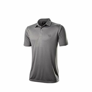 Wilson Staff Homme Polo de Golf, WILSON STAFF STRIPE POLO, Polyester/Spandex, Gris, Taille XXL, WGA700728XXL