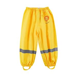 Wintesty Pantalon de pluie pour enfants – Imperméable et respirant – Vêtement de pluie – Sécurité – Bandes réfléchissantes – Jaune – Taille L – Pour garçons et filles