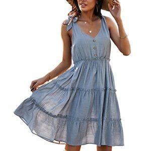 XYJD Printemps Et éTé Femmes DéContractéE Couverture Col en V Couleur Unie Bouton DéCoration Taille Robe Mi-Longue Femmes