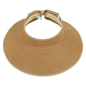 yueydengsun Chapeau de paille pliable à large bord pour femme avec nœud Noir