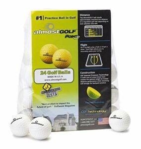 AG AlmostGolf Balls Lot de 24 balles de golf en mousse pour entraînement en intérieur ou dans la cour Blanc