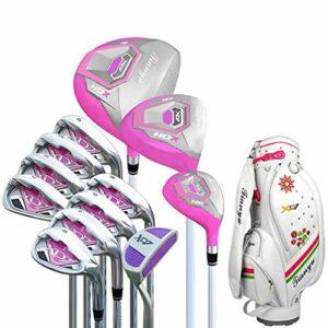 Clubs de Golf Femmes Golf Débutant Ensemble de Clubs de Golf 12 pièces Putter de Golf Rose Ensemble de Clubs d'entraînement de Golf pour Dames Club Polyvalent et fiable (Couleur : Une couleu