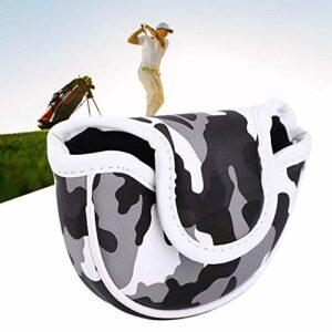 EFFACER Housse pour Putter de Golf en cuir PU Boucle Magnétique Semi-circulaire Imperméable Camouflage Housse pour Putter de Golf Club Camouflage Grey