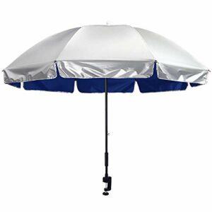 G4Free Parapluie de Chaise 43 Pouces avec Pince Réglable UPF 50+ Idéal pour Les Chaises de Patio Chaises de Plage Poussettes Fauteuils Roulants et Voiturettes de Golf