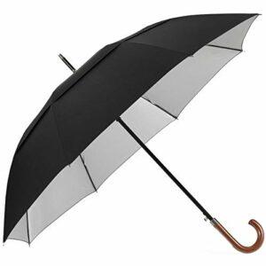 G4Free Parapluie de Golf 54/62 Pouces Anti UV Classique Ouverture Automatique Double Canopée Coupe-Vent avec Manche Courbé en Bois