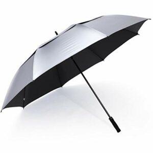 G4Free Parapluie de golf avec protection UV – Ouverture automatique – Extra large – Coupe-vent – Protège du soleil et de la pluie – Double auvent (argenté/noir)