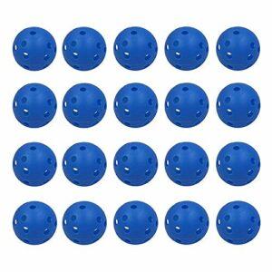 Zivisk Lot de 20 balles de golf d'entraînement creuses en plastique pour entraînement à flux d'air Bleu