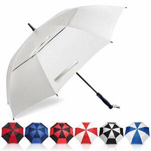 Amazon Brand – Eono Grand Parapluie de Golf, 62 inch, à Double Voilure et Ouverture Automatique, Protection Contre Le Vent, Grand Format Golf Umbrella – Argent