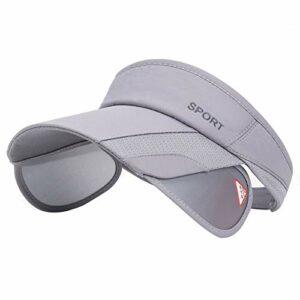 Chapeau pare-soleil d'été pour femme réglable avec bord rétractable, protection UV pour la plage, le tennis – gris – Taille L