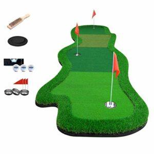 DGHJK Pratique de Golf Putting Green Indoor 3.3X13.1Ft Formation Putting Pad Pratique Trou Porte-gobelet Extérieur Backyard Golf Putting Mat