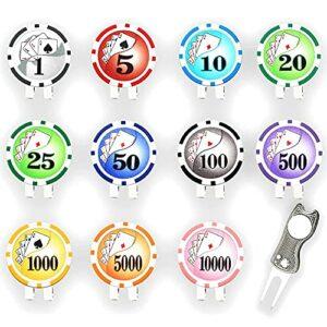 DIDILI Marqueur de Balle de à Puce de Poker avec Clips de Chapeau de et 1 Outil de RéParation de Divot, Cadeaux Premium pour Hommes Femmes Golfeurs