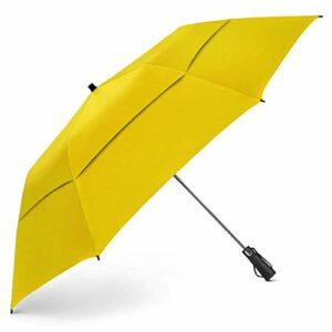 EEZ-Y Parapluie de Golf Pliable de 147,3 cm, Coupe-Vent à Double auvent Extra Large– Ouverture Automatique Solide, compacte et Portable (Jaune)