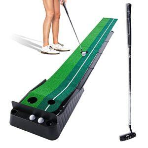 EUOSEN Tapis de golf professionnel portable d'intérieur et d'extérieur avec retour automatique de balle 3 m avec putter