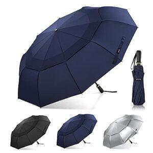 Gonex Parapluie de Golf Pliable 54 Pouces avec 10 Nervures, Grand Parapluie Coupe-Vent et Double Auvent, Parapluie Compact, Aéré et Imperméable pour Sport, Affaires et Voyages, Bleu Profond