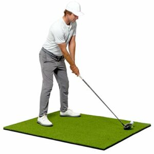 GoSports Tapis de golf pour gazon artificiel PRO 5×4 pour entraînement intérieur/extérieur | Comprend 3 tees en caoutchouc