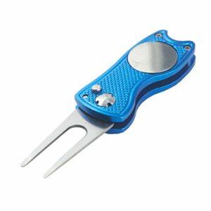 hauni Outil de réparation de Divot de Golf en Acier Inoxydable Switchblade Fourche de Golf Pliable mettant Une Fourche Verte