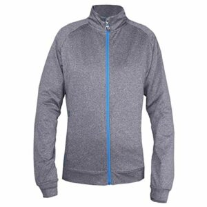 Island Green Golf Ladies Contrast Full Zip Flexible Thermal Breathable Ultra Light Top Haut Femme, Gris chiné, 44