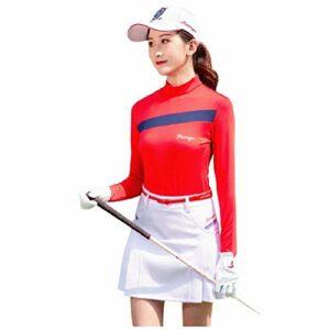 LGQ Pull De Golf pour Femmes Élasticité Séchage Rapide Respirant Vêtements De Golf Automne Et Hiver Col Montant Veste De Golf Chaude Ajustée,Rouge,XL